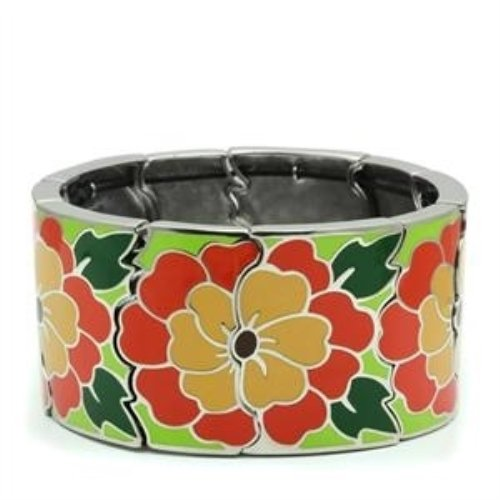 7.25 Inch Floral Band Stainless Steel Women'S Wide Band Bracelet