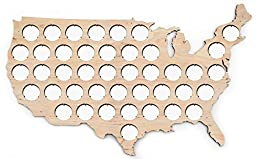 USA Beer Cap Map - 17x10 inches - 42 caps - Beer Cap Holder USA - Birch Plywood