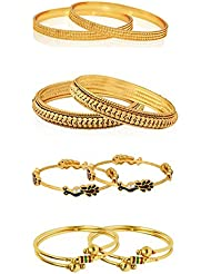 Zeneme Combo Of Designer Victoria Bangles, Pearls Bangles, Trendy Gold Plated And Coinage Bangles - Pack Of 08