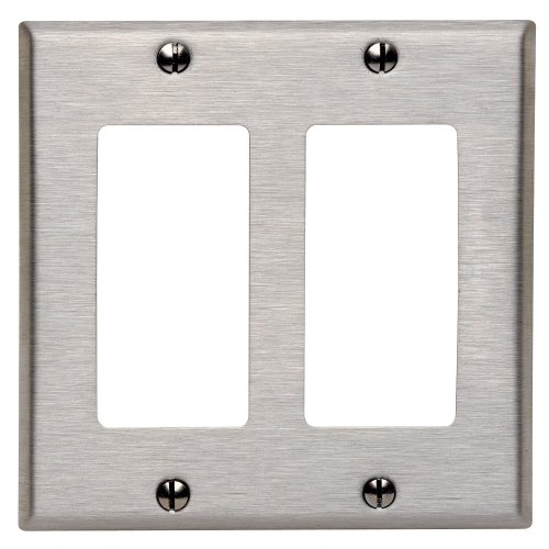 Leviton 84409-40 2-Gang Decora/Gfci Device Decora Wallplate, Device Mount, Stainless Steel