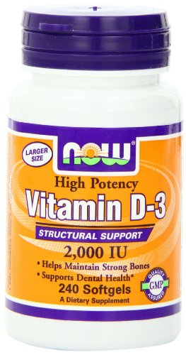 NOW Foods Vitamin D-3, Structural Support 2000 I.U., 240 Softgels