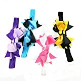 Little Mouse Assorted Color Girl Headbands with Bows or Flower / Cute Head Band Hair Bow Crystal Flower /Bow Skinny Headbands (Assorted color 4 Bow skinny Headbands set 1)