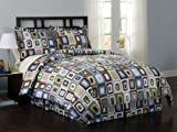 Square Dot Collection 7-Piece Comforter Set, King, Multi Colored