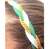 It S Ridic No Slip Grip Non-Slip Sports Athletic Nylon Triple Braided Sports Headband White | Green | Yellow