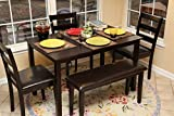 5pc Dining Dinette Table Chairs & Bench Set Espresso Brown 150232b
