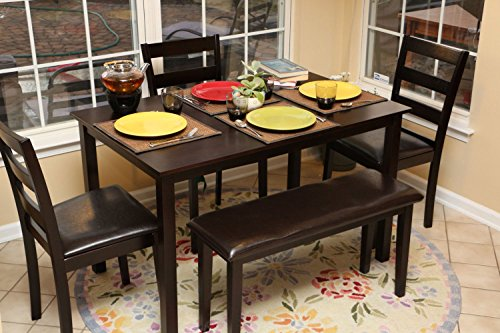 5pc Dining Dinette Table Chairs & Bench Set Espresso Brown 150232b (Kitchen Table And Chairs For 4 compare prices)