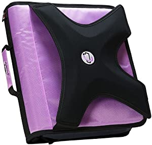Case-it X-Hugger 2-Inch Round Ring Zipper Binder with Book Holder on Front, Lavender, X-350-LAV
