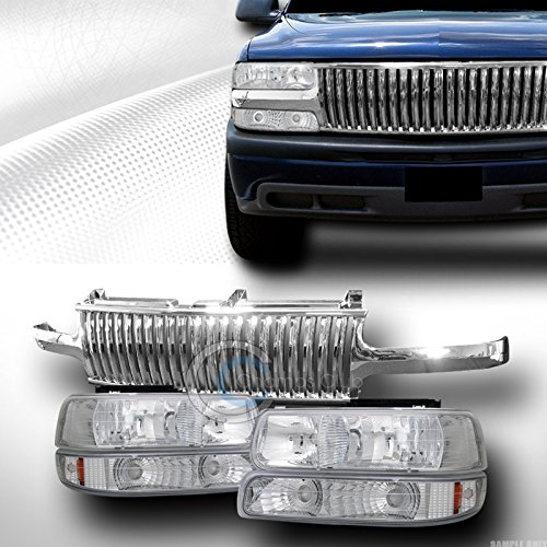 CHROME HEAD LIGHTS SIGNAL AM+VERTICAL GRILL GRILLE 1999-2006 SILVERADO SUBURBAN (2002 Chevy Silverado 2500 Grill compare prices)
