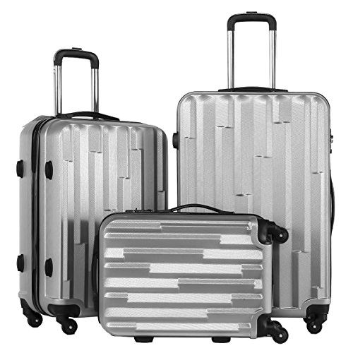 Coolife 3 Piece Luggage Suitcase Hardside Spinner set with TSA 20 inch 24 inch 28 inch Carried on Trunk(silver grey) (Lightweight Upright Suitcase compare prices)