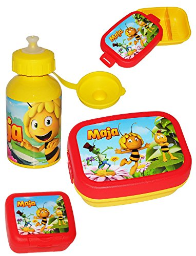 3-tlg-Set--Trinkflasche-Brotdose-Lunchbox-Keksdose-die-kleine-Biene-Maja-mit-extra-herausnehmbarer-Trennwand-fr-Mdchen-Jungen-Brotbchse-Kche-Essen-Bienen-Flip-Willi-Flip-Honig-Kinder-Vesperdose-Trennf