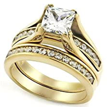 buy 1 Carat Princess Cut Cz 14K Yellow Gold Plated Stainless Steel Wedding Ring Set