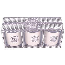 Prime Housewares - Vintage House 3pc Coffee Tea Sugar Multipurpose Home & Kitchen Food Storage Containers Jar Box Brown & cream color Air Tight & Liquid Tight (450 ml Each)