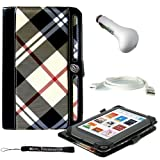 Professional Portfolio Cover Carrying Case , Khika Plaid Pattern with Synthetic Leather Design Feature with Memory Card , Notepad and Pen Slots For Barnes & Noble NOOK COLOR eBook Reader Tablet + Includes a eBigValue (TM) Determination Hand Strap + Includes a Travel USB Car Charger Kit + Includes a USB Data Sync Cable for your eReader