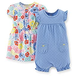 Carter\'s Baby Girls\' 2 Piece Dress & Romper Set (Baby) - Blue - 6 Months