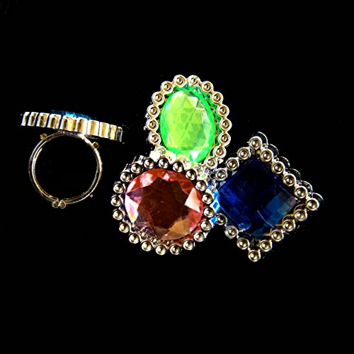 Dazzling Toys Large Gemstone Like Rings - Pack of 24 (D103)