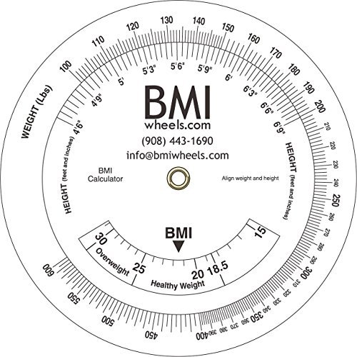BMI Wheel, Bariatric up to 600lbs, pounds and inches, 4.25 calculator by Pharma-Insight