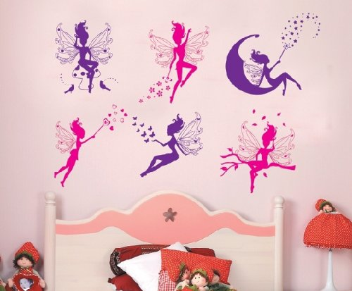 6 Magic Fairy Pink And Purple - Removable And Re-Positionable Children'S Room Art Decal Wall Stickers
