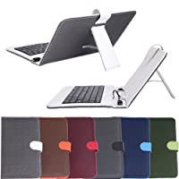 "HDE Diamond Stitch Hard Leather Folding Folio Case Cover with Micro USB Keyboard for 7"" Tablet from HDE"