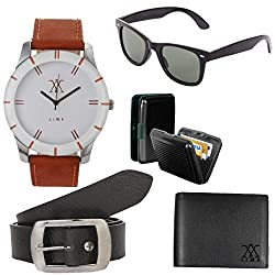 Lime offers combo of watches with cardholder wayfarer sunglasses leather wallet and belt