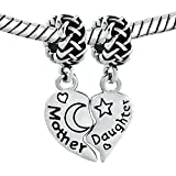 Christmas Gifts Silver Plated Heart Mom Puzzle Love Mother Daughter Charm Sale Cheap Beads Fit Pandora Jewelry Bracelet