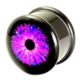 Acrylic Logo Picture Plug Ear Stretching Plug Cyber Eye Purple 6mm gauge