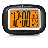 PPLEE Radio Controlled Atomic LCD Digital Alarm Clock With Calendar,Indoor Temperature,Date(Batteries Included)
