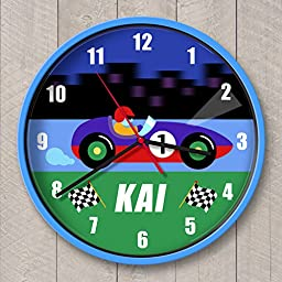 Vroom Personalized Clock Blue Case