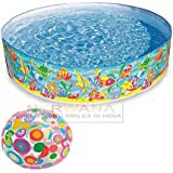 Intex Ocean Play Snapset Pool (6-feet X 13 Inch) With Intex Inflatable Beach Ball