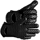 Joyoldelf 2015 Newest Heat Resistant Silicone Kitchen and BBQ Gloves -Perfect Grill Gloves - Withstand Heat Up To 425°F / 218°C! Great for Cooking, Boiling-Water Proof,Dishwasher Safe, and Outperforms Oven Mitts & Any Other Related Product- Flexible, Versatile, and Engineered with a Superb Grip,Black