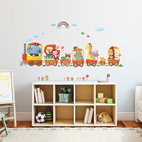 Decowall, DM-1406A, Animal Train Wall Stickers
