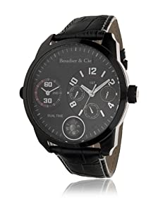 Boudier & Cie Herren-Armbanduhr XL World Timer - Kingsize Collection Analog Quarz Leder OZG1079