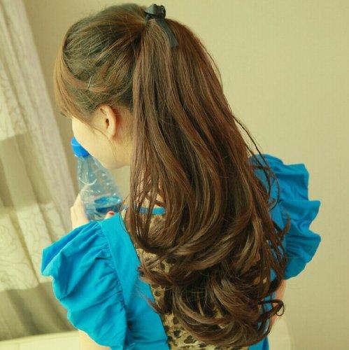 Fashion BIG Waves Long Rinka Fluffy Ponytail Hair Extensions Px0326 (Black Brown)
