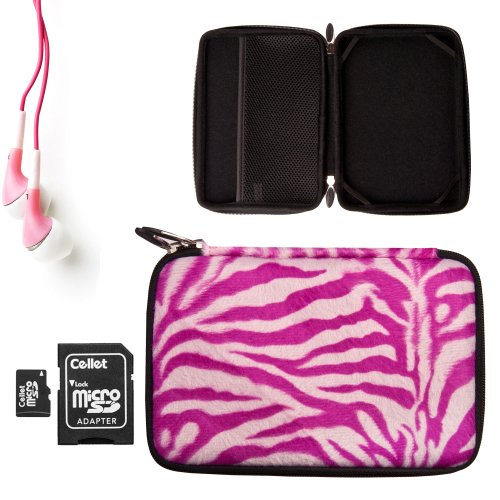 Vangoddy Accessories Presents Our Magenta Zebra Print Faux Fur Hard Case **Fits The Maylong Mobility M290** + Pink Maylong Mobility M290 Compatible Noise Cancelling Ear Buds + 16Gb Micro Sd Card With Adaptor