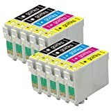 2 Compatible Set of 4 + Extra Black Printer Ink Cartridges to replace T0715 + T0711 (5 Inks) - Black / Cyan/ Magenta / Yellow for use in Epson Stylus D78 D92 D120 DX4000 DX4050 DX4400 DX4450 DX5000 DX5050 DX6000 DX6050 DX7000F DX7400 DX7450 DX8400 DX8450
