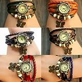Montre Bracelet Papillon PU Cuir Quartz Classique Tressé Rétro Femme Mode Watch