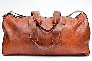 Urban Safari London Unisex Handmade Real Leather Duffle Bag Weekend Bag Tan Brown Hemingway Duffle Bag