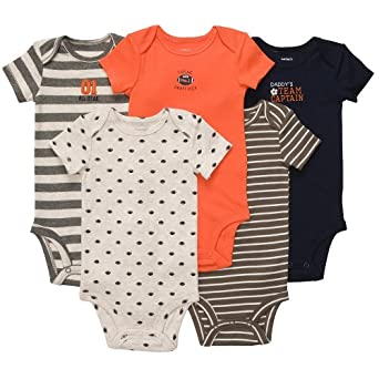 Carter's Baby Boys' 5-Pack S/S Bodysuits - Orange/Navy - 3 Months
