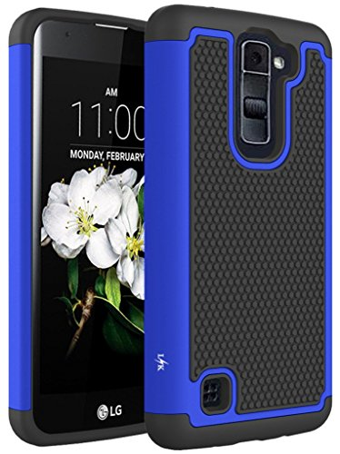 LG Tribute 5 Case, LG K7 Case, LK [Shock Absorption] Drop Protection Hybrid Dual Layer Armor Defender Protective Case Cover for LG Tribute 5 / LG K7, Blue (Lg Phone Case Cover compare prices)