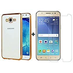 ACCESSORY COMBO (SAMSUNG GALAXY J5 2015 OLD EDITION) ELECTROPLATED TRANSPARENT GOLD BACK COVER AND ULTRA CLEAR TEMPERED GLASS