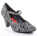 Zebra Print Buckle Strap Maryjane Low Heels