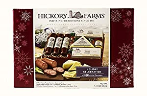 Hickory Farms Holiday Celebration 1.3 lb Gift Set Includes: Summer Sausage Smooth & Sharp Three Cheese & Onions Sweet Hot Mustard Golden Toasted Crackers Strawberry Bon Bons