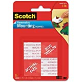Scotch Removable Mounting Squares, 1 X 1 Inches, 16 Squares/package (3 Packages)