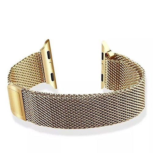 Apple Watch Uhrenarmband,Gold Edelstahl Mesh Apple Watch Uhrenarmband für Apple Watch & Sport & Edition - 38mm