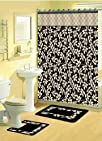LEAVES BLACK FABRIC SHOWER CURTAIN FABRIC COVERED RINGS