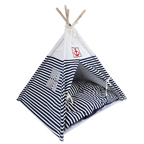 CocoGo® Navy Stripe Style Pet House Teepee Washable Durable Foldable Small Dog and Cat Tent with Bed Mat (Blue)