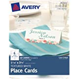 Avery Textured Place Cards, White, 1.43 x 3.75 Inches, Pack of 60 (80504)