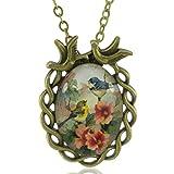 Mese Londres Oiseaux Rétro collier pendentif en bronze-Cadeau Élégant