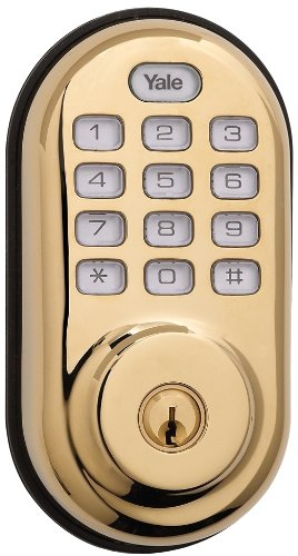 Yale Security Yrd210-Zw-605 Real Living Electronic Push Button Deadbolt, Fully Motorized With Z-Wave Technology, Polished Brass