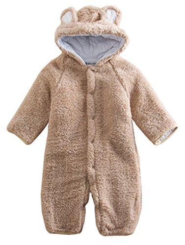 Baby Toddler All in One Snowsuit Romper Snowsuit (6-12 month (Tag 80), Brown)