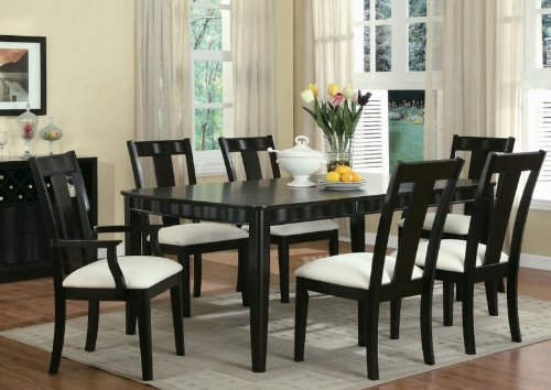 Buy Low Price Coaster 7pc Formal Dining Table & Chairs Set Merlot Cappuccino Finish (VF_Dinset